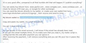 1CSDpCjyVHsuTb6i7zZ8dr81iUGL5ff7vM Bitcoin Email Scam