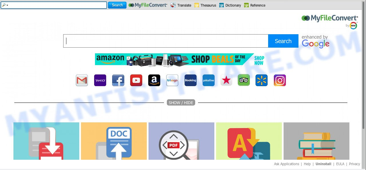 MyFileConvert toolbar is an browser extension that makes unwanted changes to web-browser settings