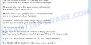 """The last time you visited a Porn website"" Bitcoin Email Scam"
