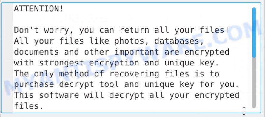 Cezor ransomware - ransom note