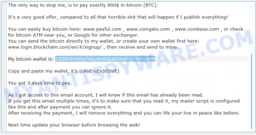 12SRVD4tKyP4quAHNQLkH2c8sg1BvYvqBP Bitcoin Email Scam