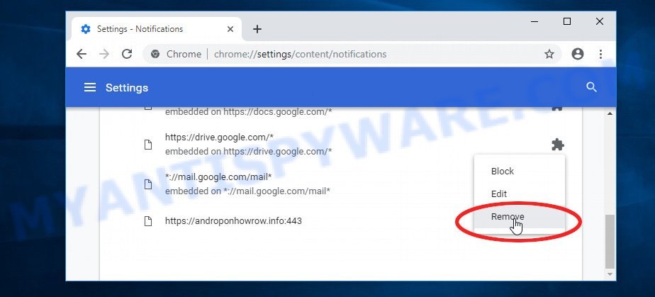 Google Chrome Broindifferd.club push notifications removal