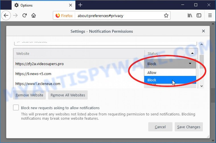 Mozilla Firefox Accountyx.club push notifications removal