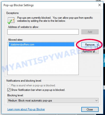 Internet Explorer Reventialmild.pro push notifications removal