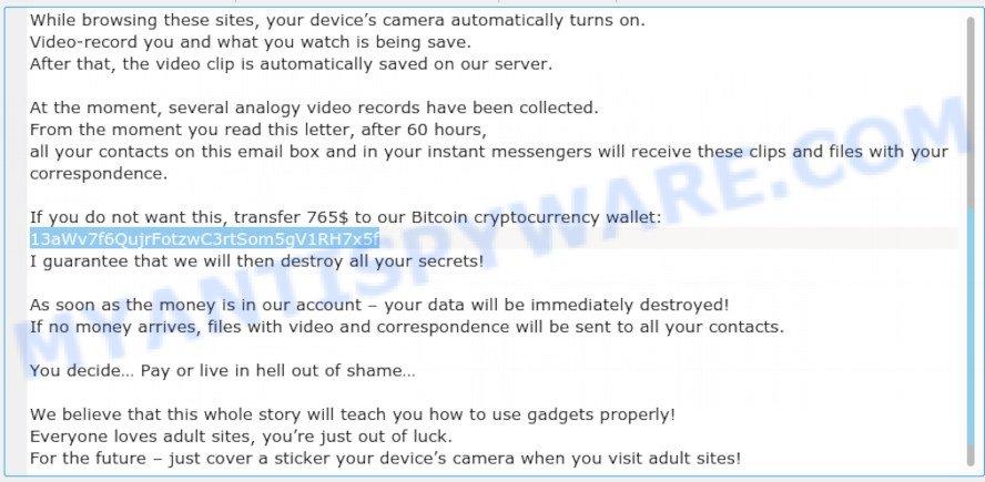 13aWv7f6QujrFotzwC3rtSom5gV1RH7x5f Bitcoin Email Scam
