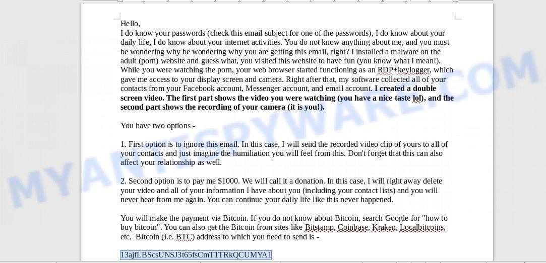 13ajfLBScsUNSJ3t65fsCmT1TRkQCUMYA1 bitcoin email scam