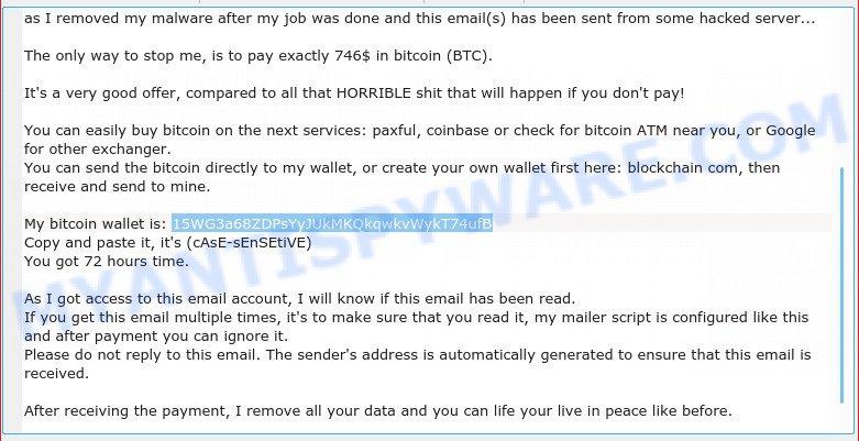 15WG3a68ZDPsYyJUkMKQkqwkvWykT74ufB Bitcoin Email Scam