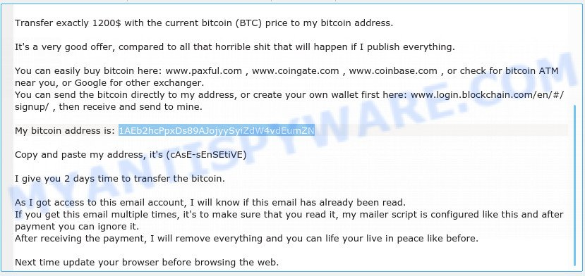 1AEb2hcPpxDs89AJojyySyiZdW4vdEumZN bitcoin email scam