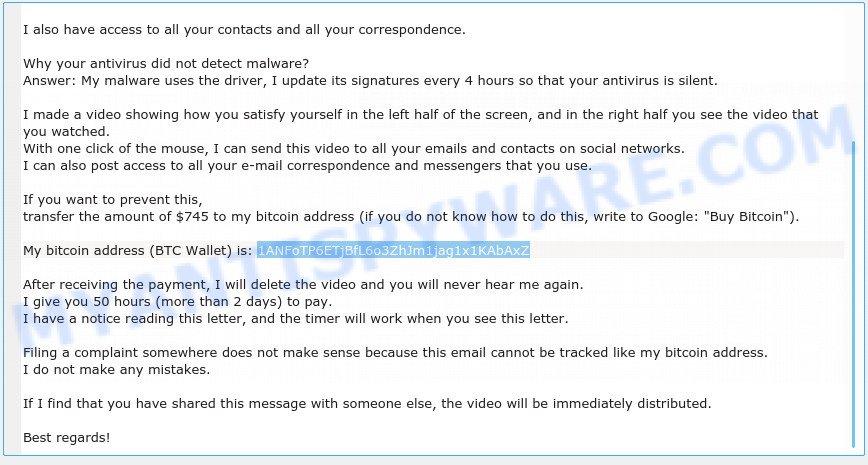 1ANFoTP6ETjBfL6o3ZhJm1jag1x1KAbAxZ Bitcoin Email Scam