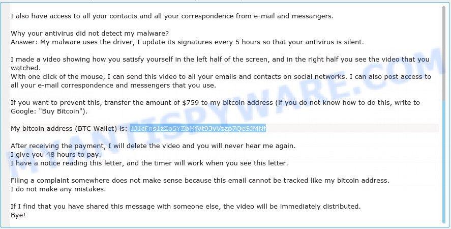 1J1cFns1zZo5YZbMjVt93vVzzp7QeSJMNf Bitcoin Email Scam