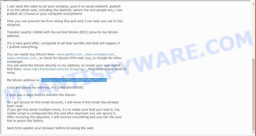 1KDnUbAHkxb57RYjJufdmjYF9F4vFWjm5m Bitcoin Email Scam