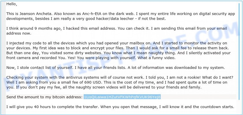 1LisQiLaiwa1HZutVFKWhPqfKVUK96Yej8 Bitcoin Email Scam