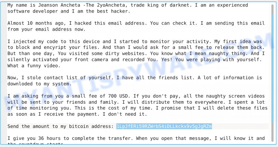 1LpJfERi59RZWrbS4iDLLkckx9v5gJgRZm Bitcoin Email Scam
