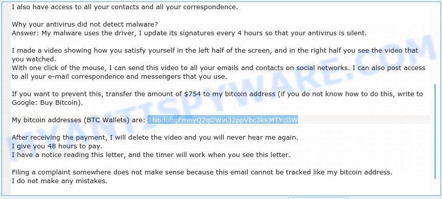1N6dubqFmnyQ2qDWvi32ppVbc3kKMTYcGW Bitcoin Email Scam