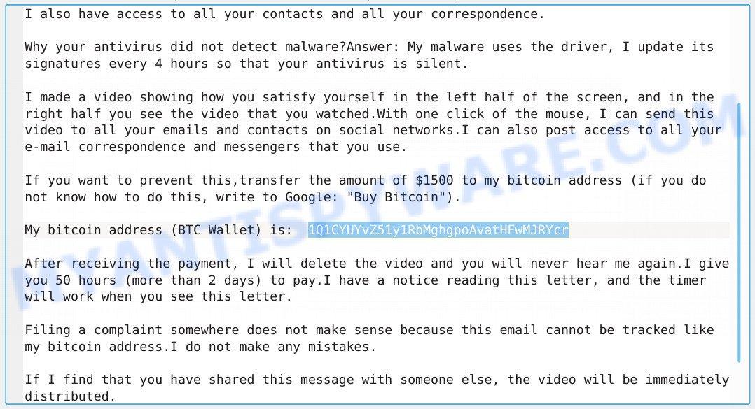1Q1CYUYvZ51y1RbMghgpoAvatHFwMJRYcr Bitcoin Email Scam