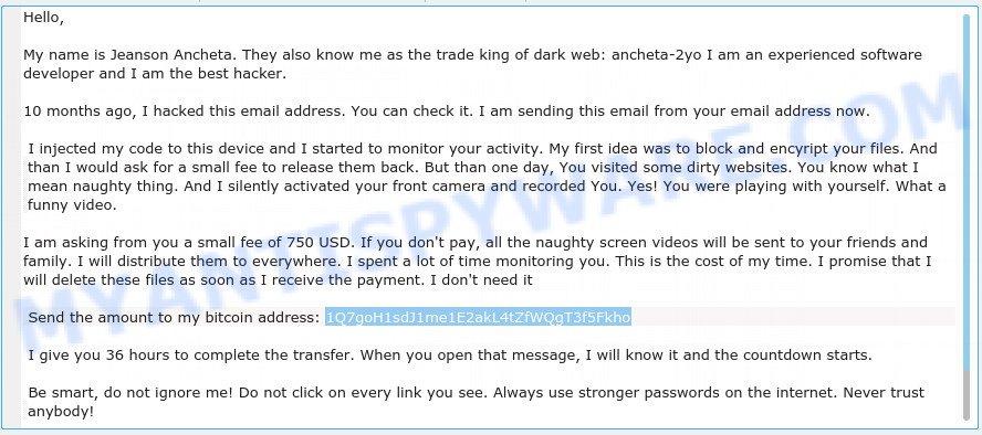 1Q7goH1sdJ1me1E2akL4tZfWQgT3f5Fkho Bitcoin Email Scam