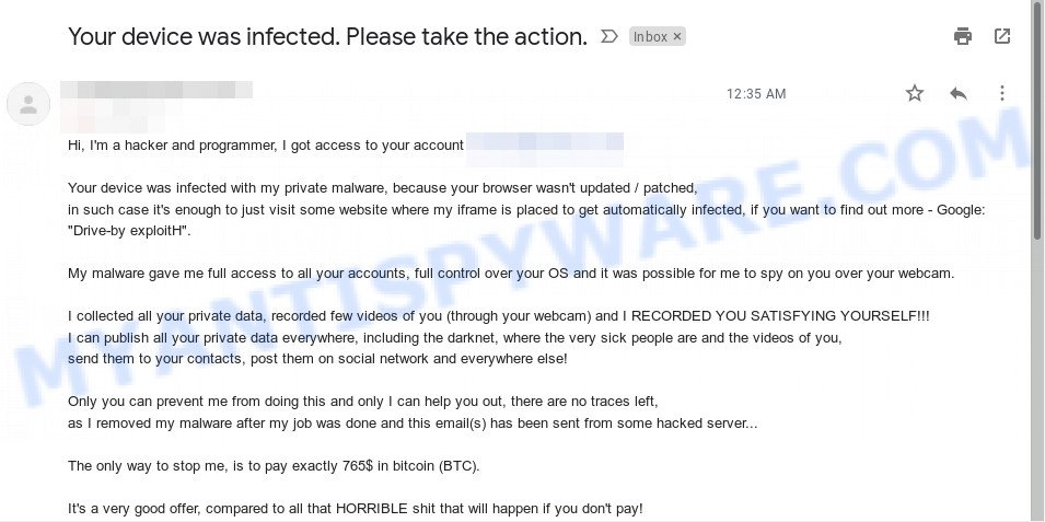 """Your device was infected. Please take the action."" Bitcoin Email Scam"