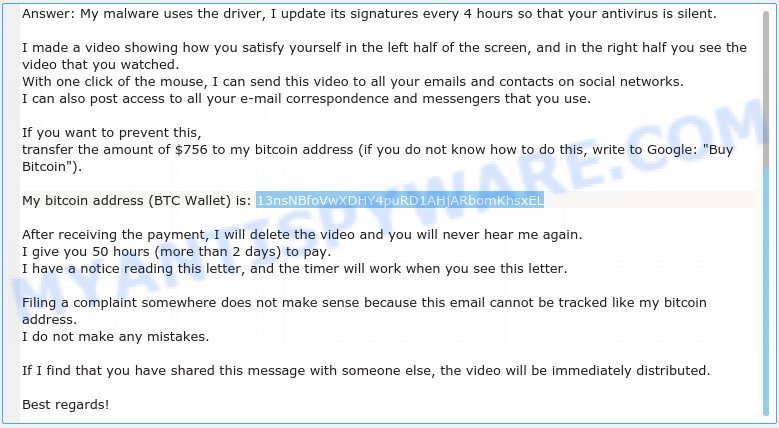 13nsNBfoVwXDHY4puRD1AHjARbomKhsxEL Bitcoin  Email Scam