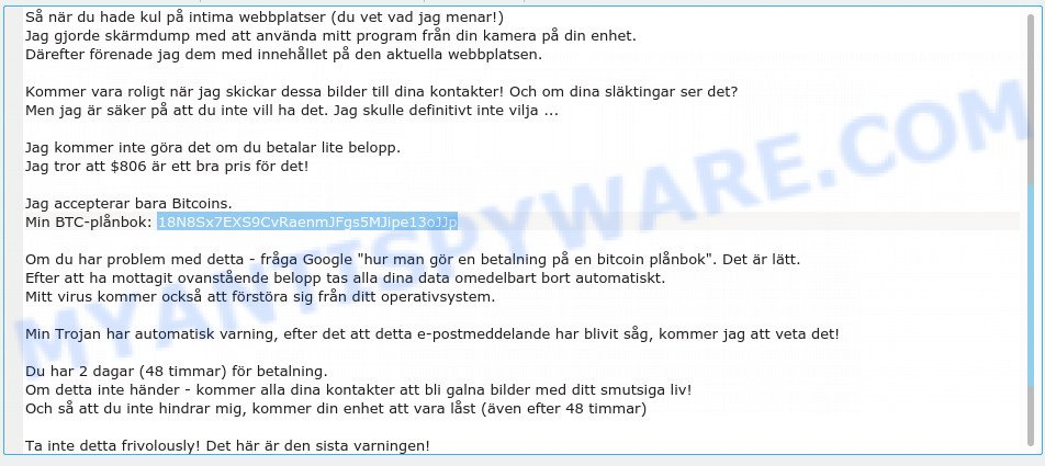 18N8Sx7EXS9CvRaenmJFgs5MJipe13oJJp Bitcoin Email Scam