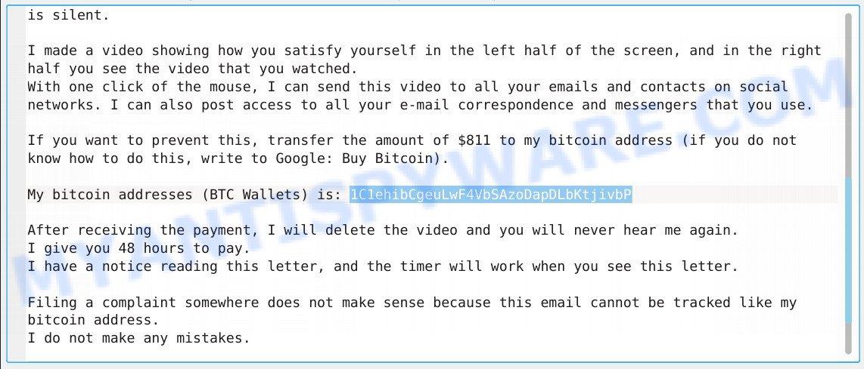 1C1ehibCgeuLwF4VbSAzoDapDLbKtjivbP Bitcoin Email Scam