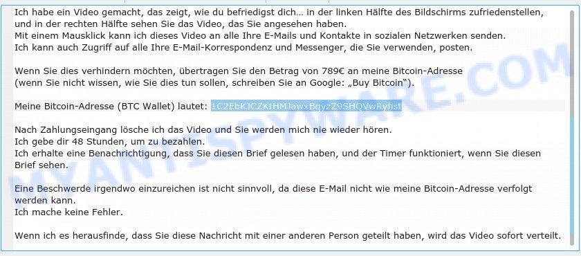 1C2EbKJCZKtHMJawxBqyzZ9SHQVwRyfist Bitcoin Email Scam