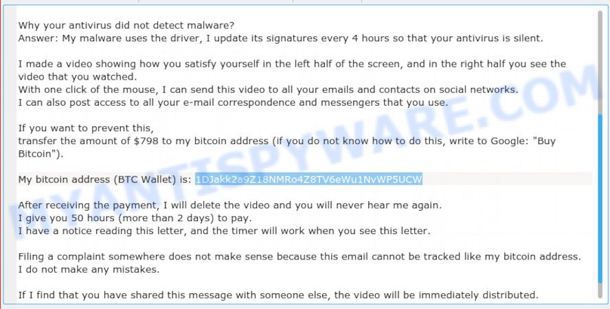 1DJakk2a9Z18NMRo4Z8TV6eWu1NvWP5UCW Bitcoin Email Scam