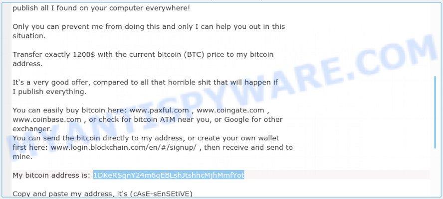 1DKeRSqnY24m6qEBLshJtshhcMjhMmfYot Bitcoin Email Scam
