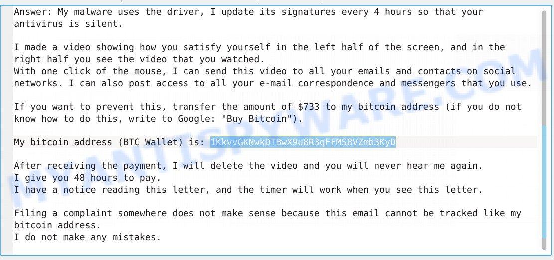 1KkvvGKNwkDTBwX9u8R3qFFMS8VZmb3KyD Bitcoin Email Scam