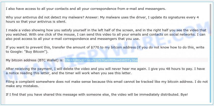1NiXnj8DcDTnawYqz57GeVRMxw6WDTy3ba Bitcoin Email Scam