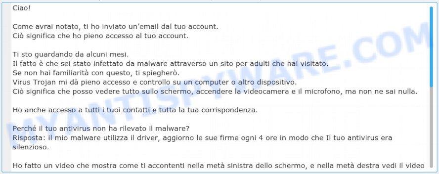 Come avrai notato, ti ho inviato un'email dal tuo account EMAIL SCAM
