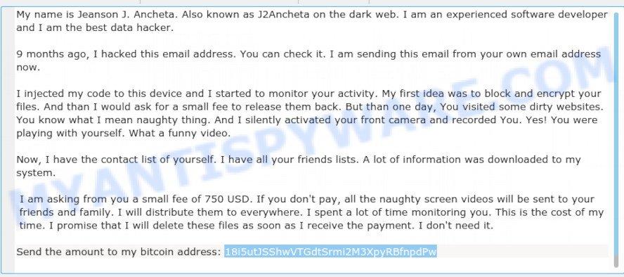 18i5utJSShwVTGdtSrmi2M3XpyRBfnpdPw Bitcoin Email Scam