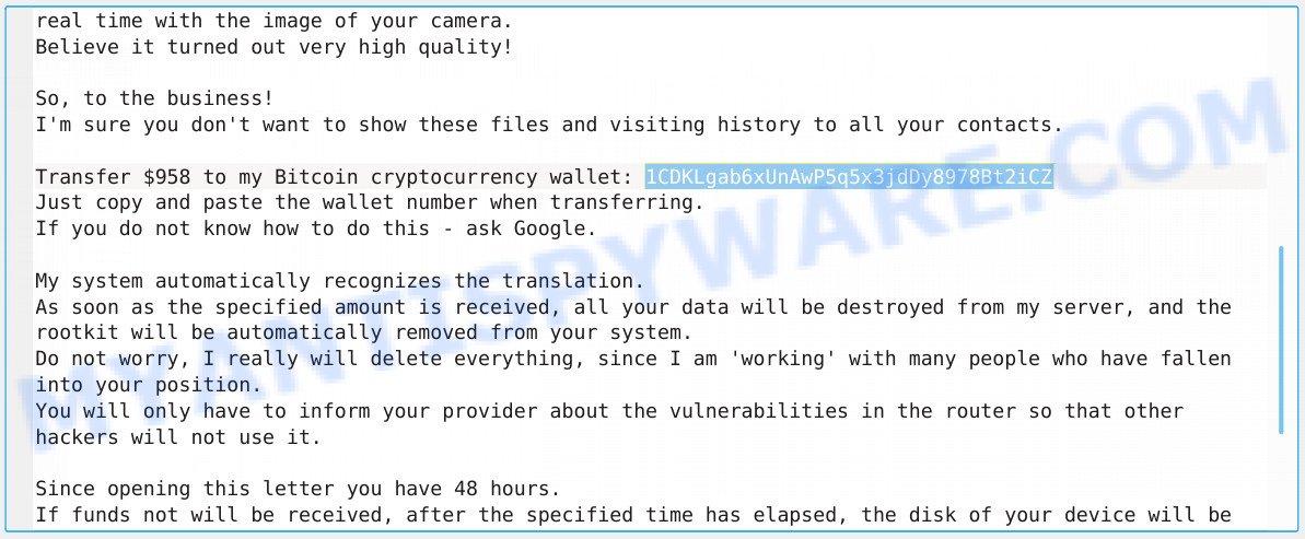 1CDKLgab6xUnAwP5q5x3jdDy8978Bt2iCZ Bitcoin Email Scam