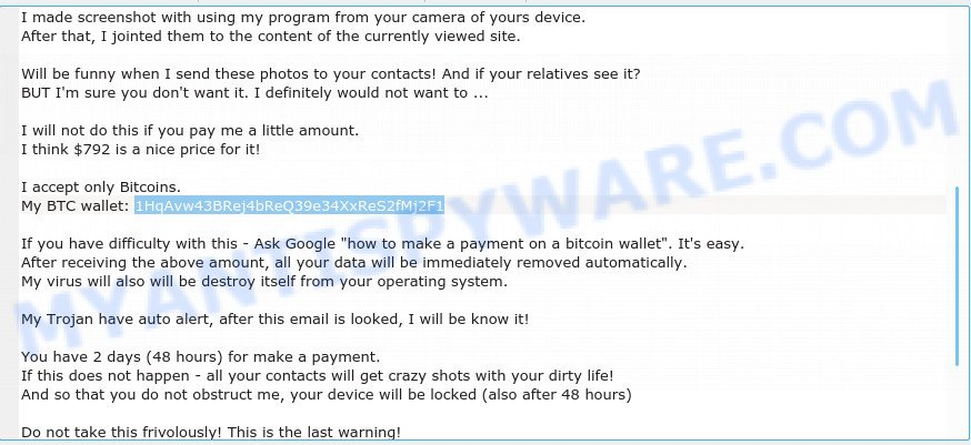 1HqAvw43BRej4bReQ39e34XxReS2fMj2F1 Bitcoin Email Scam
