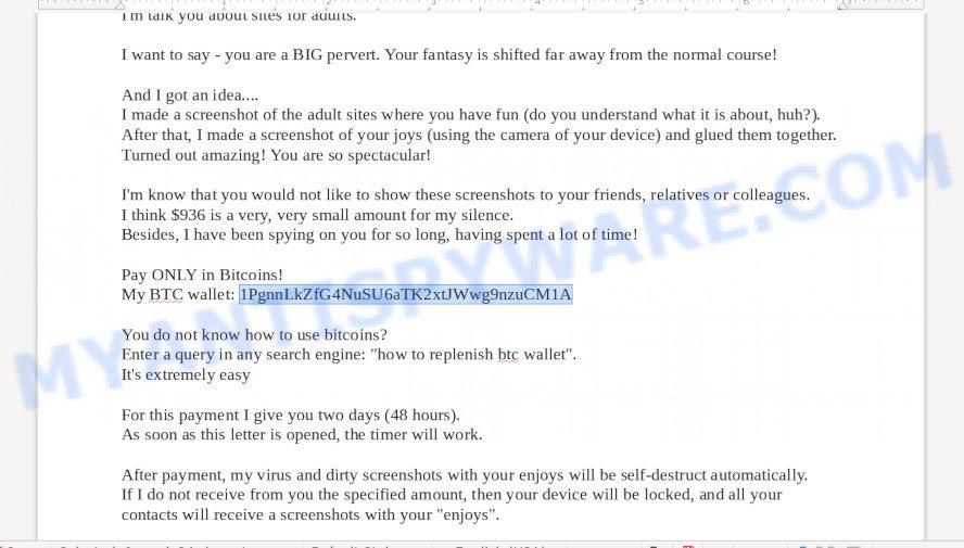 1PgnnLkZfG4NuSU6aTK2xtJWwg9nzuCM1A Bitcoin Email Scam