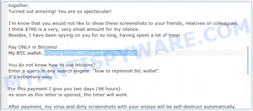1Q2pVgd9YradB42risptr8tsydKrVDSD2A Bitcoin Email Scam