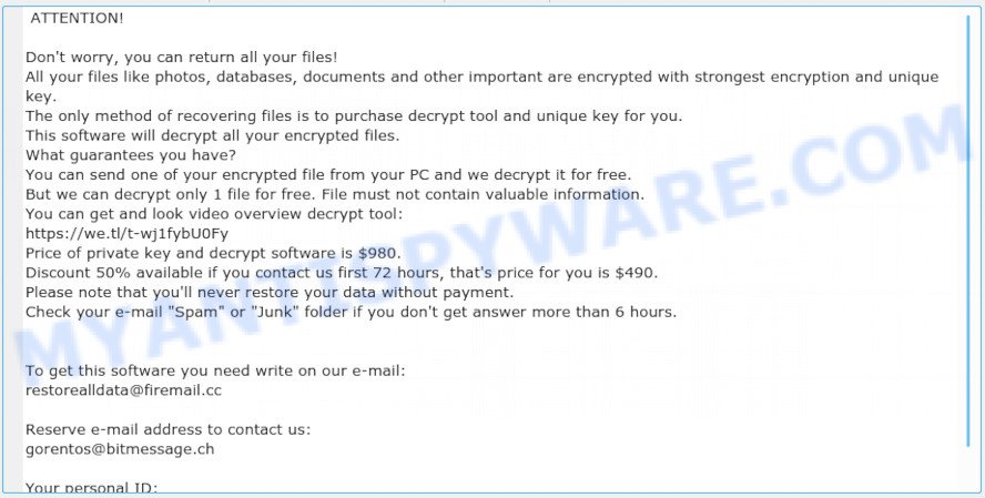 Restorealldata@firemail.cc virus