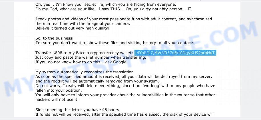 14YaRDi7jMVcVR37uBmJDqVKU92orpNqTt Bitcoin Email Scam