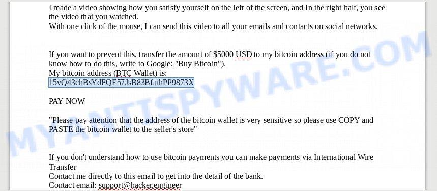 15vQ43chBsYdFQE57JsB83BfaihPP9873X Bitcoin Email Scam