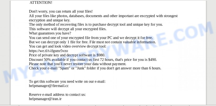 Helpmanager@firemail.cc ransomware