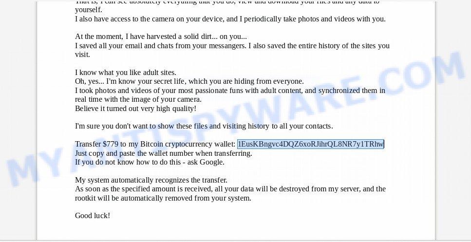 1EusKBngvc4DQZ6xoRJihrQL8NR7y1TRhw Bitcoin Email Scam
