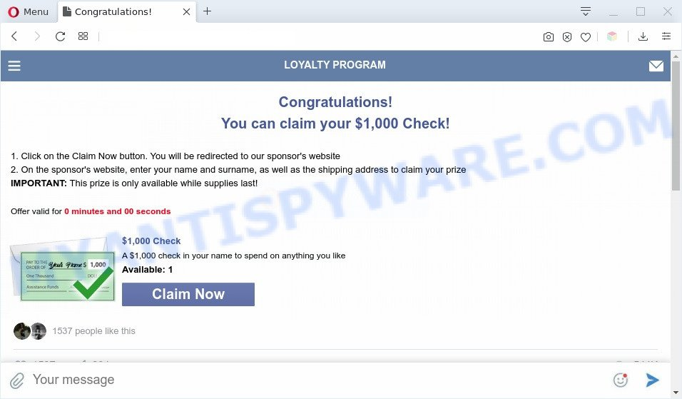 Congratulations! You can claim your $1,000 Check! POP-UP SCAM