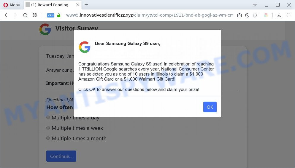 Dear Samsung Galaxy user pop-up scam