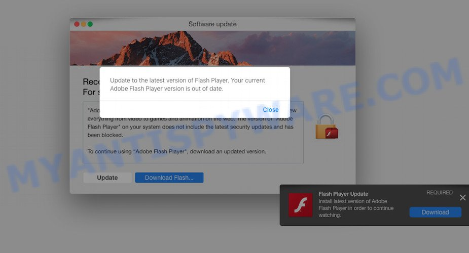 Shlayer Trojan - Fake Flash Player Update pop-up