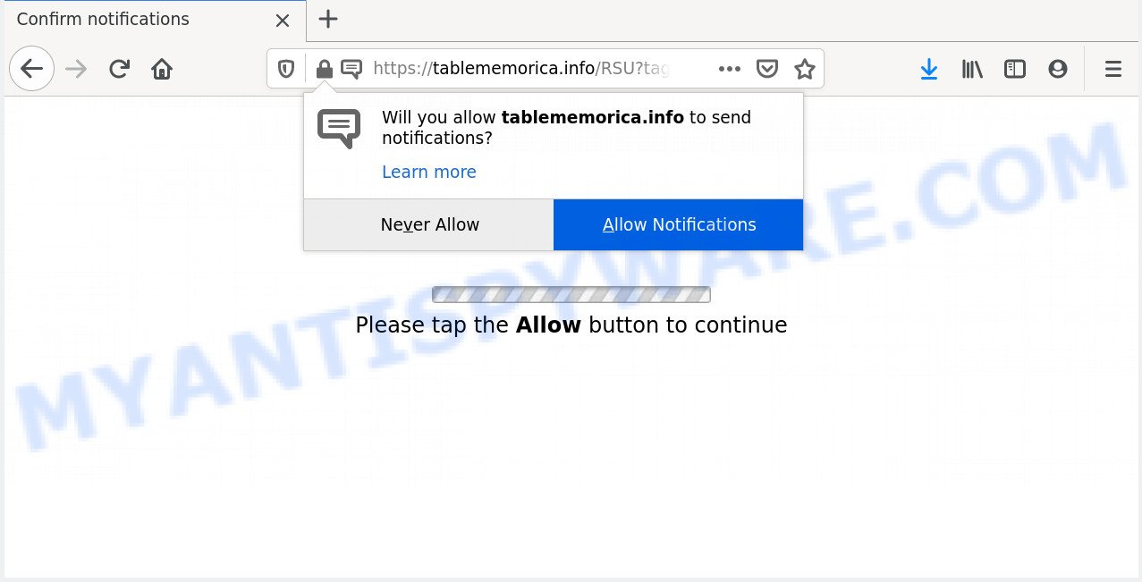 Allow Button how to remove tablememorica pop-ups (virus removal guide)