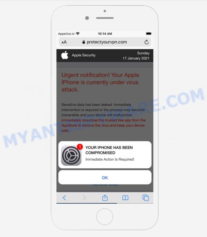 YOUR IPHONE HAS BEEN COMPROMISED pop-up