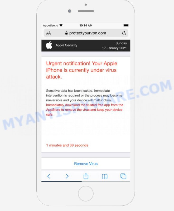 YOUR IPHONE HAS BEEN COMPROMISED scam