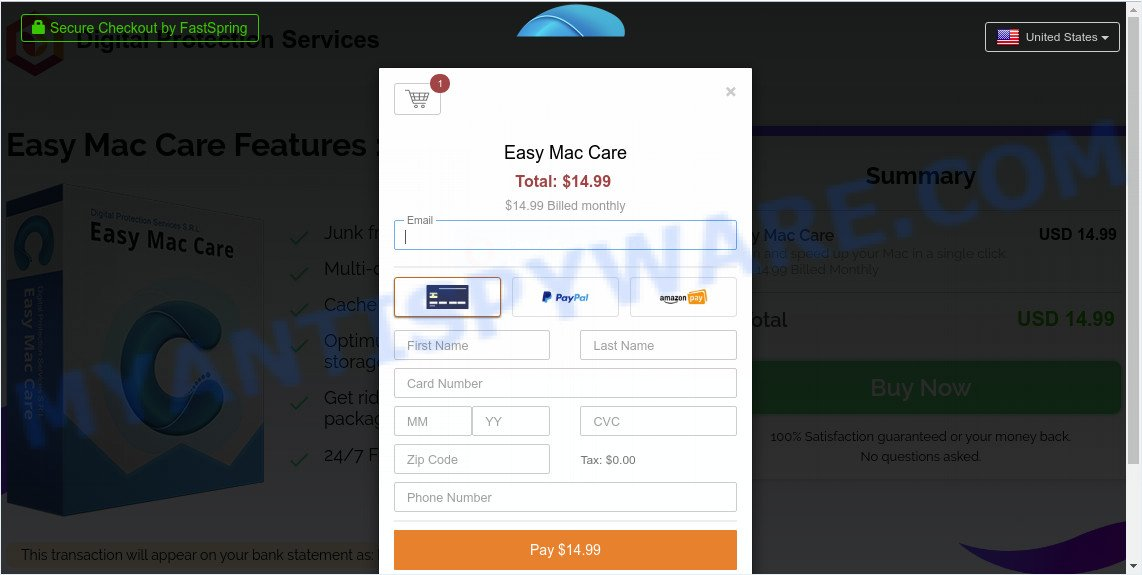 Easy Mac Care pay page