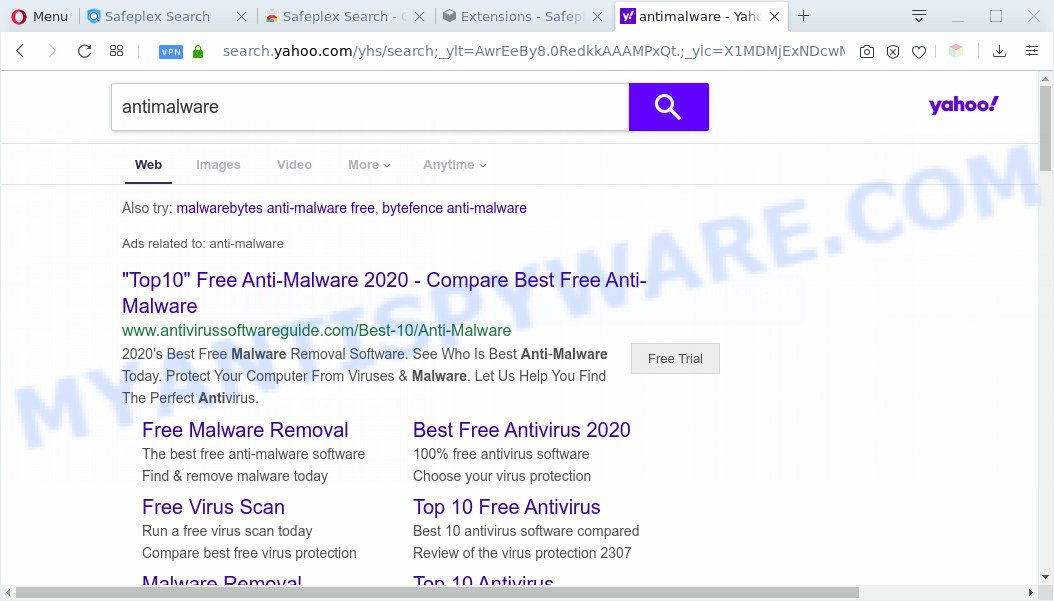 Safeplex Search redirects to yahoo