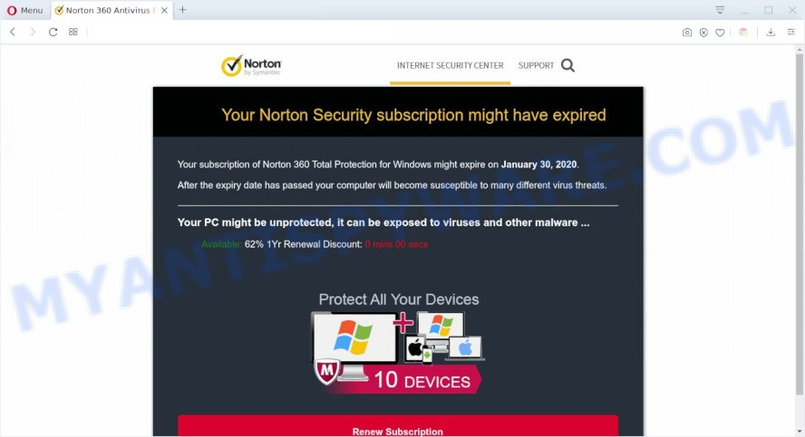 Your Norton Security subscription might have expired SCAM