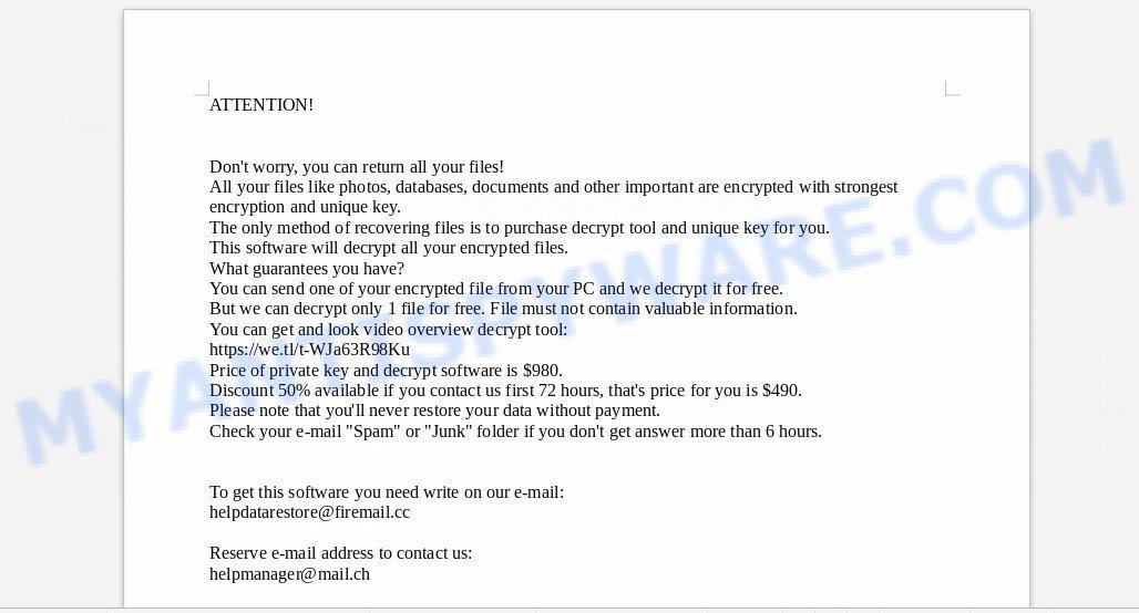 helpdatarestore@firemail.cc ransomware